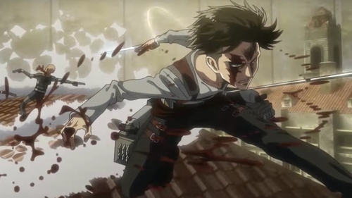 Levi Ackerman killing an Interior Police member from the anime Attack on Titan season 3 part 1
