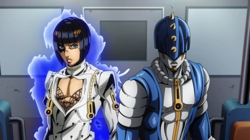 Bruno Buccellati and his stand, Sticky Fingers from the anime JoJo's Bizarre Adventure Part 5: Golden Wind