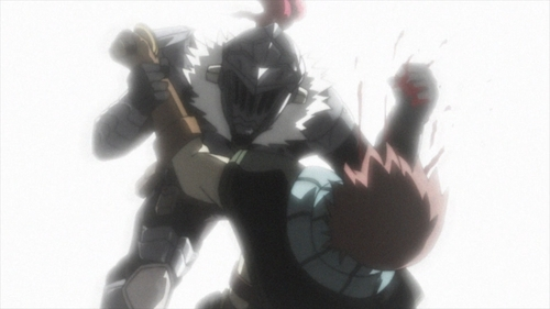 Goblin Slayer punches a Steel-ranked adventurer from the anime Goblin Slayer