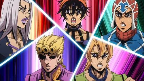 Abbacchio, Giorno, Narancia, Fugo, and Mista from the anime JoJo's Bizarre Adventure Part 5: Golden Wind