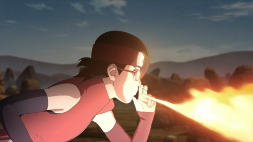 Sarada Uchiha using the Fireball Jutsu from the anime Boruto: Naruto Next Generations