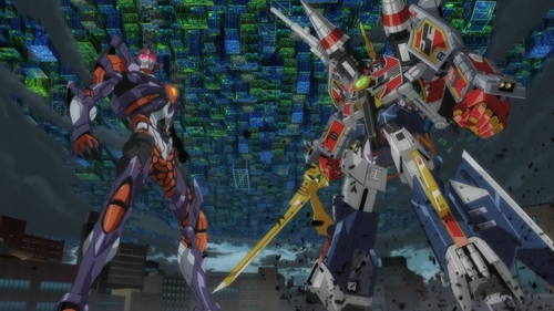 Gridman and Gridknight from the anime SSSS.Gridman