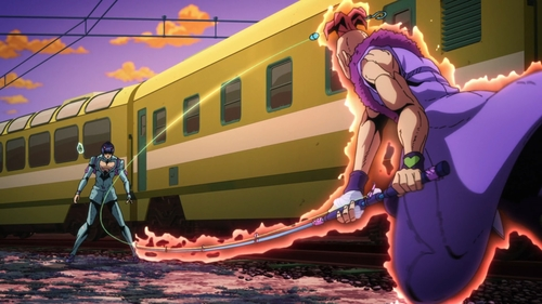 Bruno Buccellati vs. Pesci from the anime series JoJo's Bizarre Adventure Part 5: Golden Wind