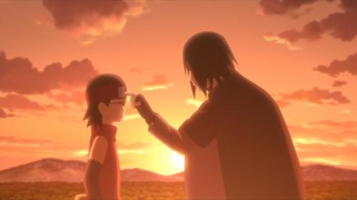 Sasuke and Sarada Uchiha from the anime series Boruto: Naruto Next Generations
