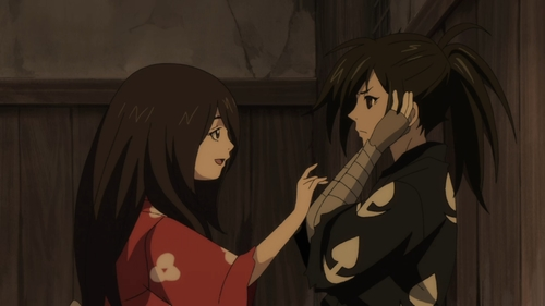 Mio and Hyakkimaru from the anime series Dororo