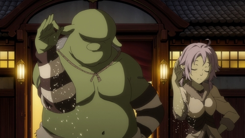 "A Hobgoblin and Goblina version of the ""Salt Bae"" meme from the anime series That Time I Got Reincarnated as a Slime"