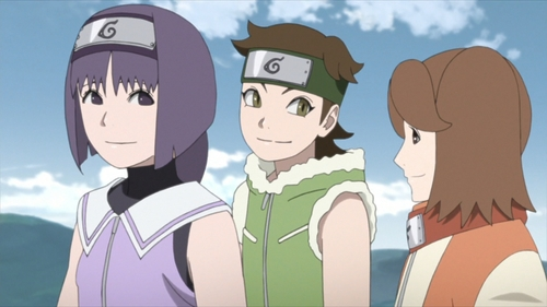 Sumire, Wasabi, and Namida of Team 15 from the anime series Boruto: Naruto Next Generations