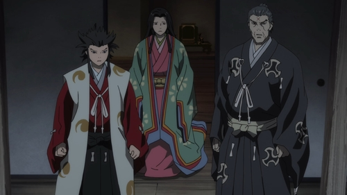 Tahoumaru, Nuinokata (Oku), and Daigo from the anime series Dororo