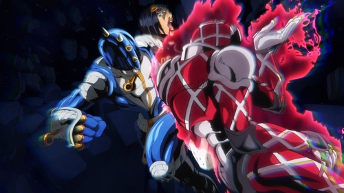 Sticky Fingers vs. King Crimson from the anime series JoJo's Bizarre Adventure Part 5: Golden Wind