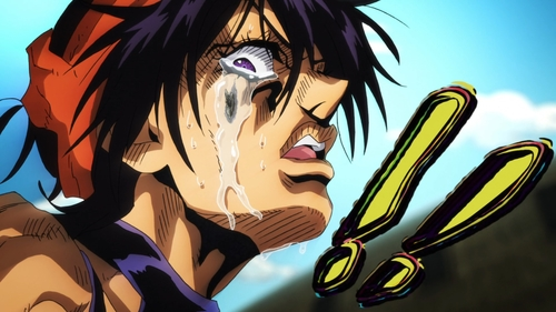 Squalo's stand, Clash, in Narancia Ghirga's tears from the anime series JoJo's Bizarre Adventure Part 5: Golden Wind