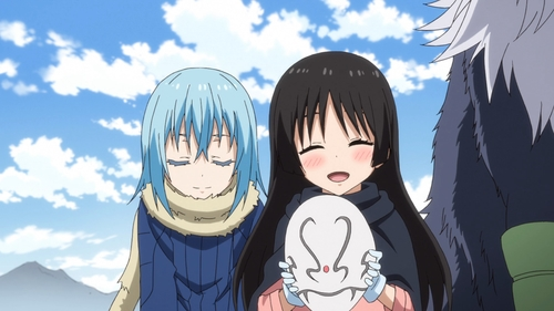 Chloe Aubert receiving Shizu's mask from Rimuru Tempest in the anime series That Time I Got Reincarnated as a Slime