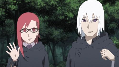 Karin and Suigetsu from the anime series Boruto: Naruto Next Generations