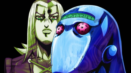 Leone Abbacchio and Moody Blues from the anime series JoJo's Bizarre Adventure Part 5: Golden Wind