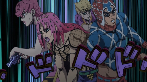 Mista (Trish), Diavolo (Buccellati), Trish (Mista), and Giorno from the anime series JoJo's Bizarre Adventure Part 5: Golden Wind