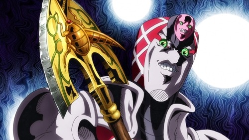 King Crimson holding the stand arrow from the anime series JoJo's Bizarre Adventure Part 5: Golden Wind