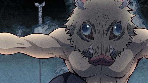 Inosuke Hashibira from the anime series Demon Slayer: Kimetsu no Yaiba