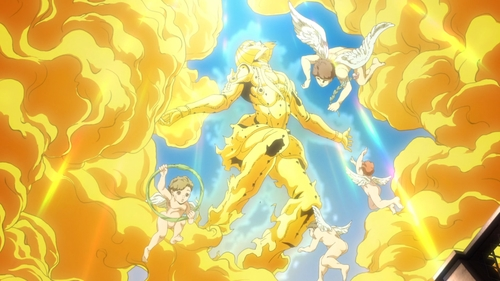 Bruno Buccellati's soul going to heaven from the anime series JoJo's Bizarre Adventure Part 5: Golden Wind