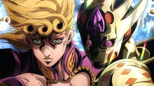 Giorno Giovanna and Gold Experience Requiem from the anime series JoJo's Bizarre Adventure Part 5: Golden Wind
