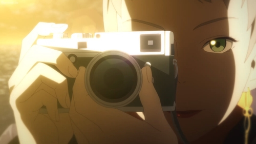 Zoey taking a picture of Tilarna from the anime series Cop Craft