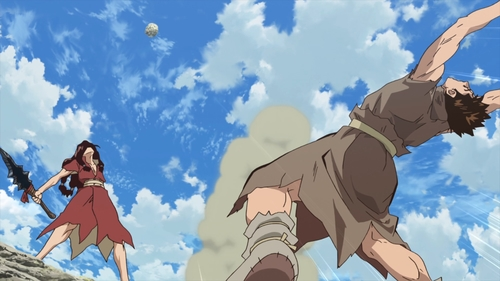 Taiju throwing a boulder above Tsukasa from the anime series Dr. Stone