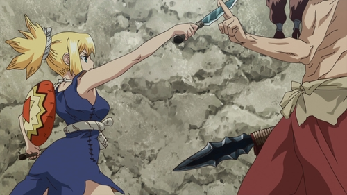 Kohaku fighting Tsukasa from the anime series Dr. Stone