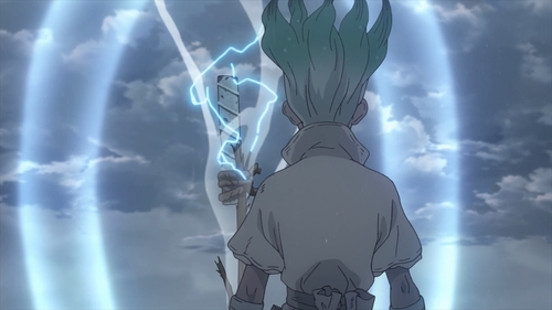 Senku creating a powerful magnet from the anime series Dr. Stone