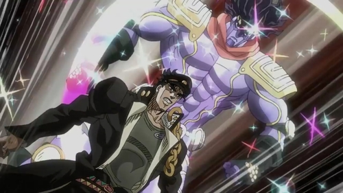 Jotaro Kujo and Star Platinum from the anime series JoJo's Bizarre Adventure Part 3: Stardust Crusaders