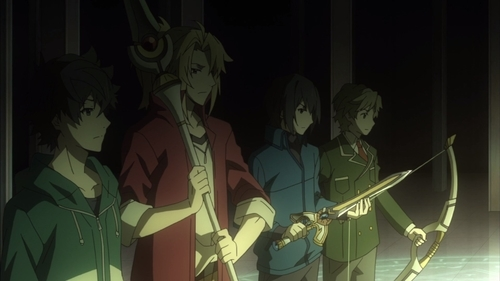 The Four Cardinal Heroes from the anime series The Rising of the Shield Hero