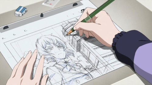 Ema drawing Aria for Third Aerial Girls Squad from the anime series Shirobako