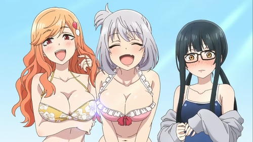 Saki, Senpai, and Madara in their bathing suits from the anime series Magical Sempai