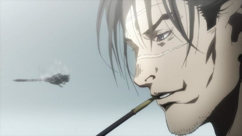 Manji smoking his pipe from the anime series Blade of the Immortal
