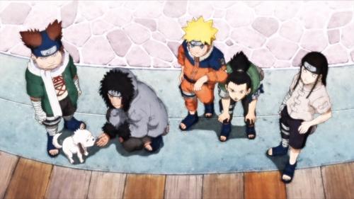 Chōji, Akamaru, Kiba, Naruto, Shikamaru, and Neji from the anime series Boruto: Naruto Next Generations