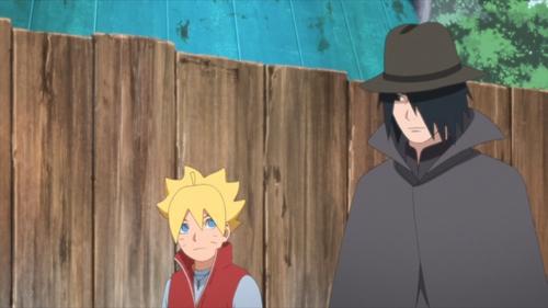 Boruto and Sasuke wearing disguises from the anime series Boruto: Naruto Next Generations