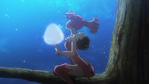 Homura eating cotton candy in a tree from the anime series Dr. Stone