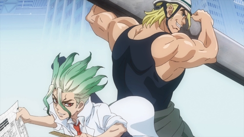 Senku and Magma as an architect and construction worker respectively from the anime series Dr. Stone