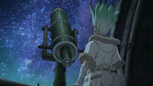 Senku and his new telescope from the anime series Dr. Stone