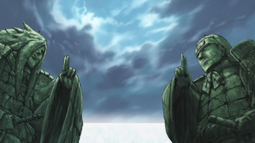The Madara Uchiha and Hashirama Senju statues at the Valley of the End from the anime series Naruto: Shippūden