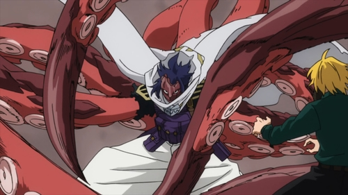Suneater using his Vast Hybrid: Chimera Kraken ability from the anime series My Hero Academia season 4