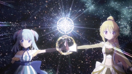 Rena Minami and Momoko Togame from the anime series Madoka Magica: Magia Record