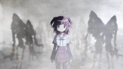 "Kaede Akino and the ""chain monster(s)"" from the anime series Madoka Magica: Magia Record"