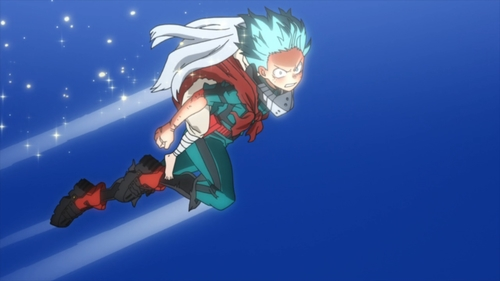 Deku in Super Saiyan mode from the anime series My Hero Academia season 4