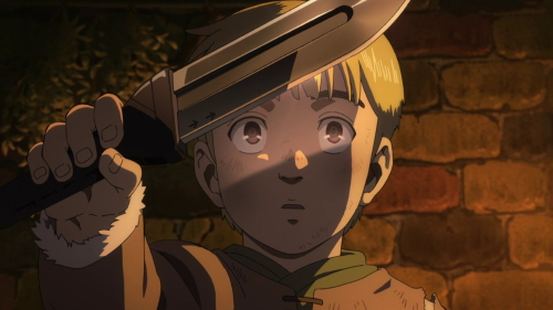 Thorfinn as a child holding his father's knife from the anime series Vinland Saga