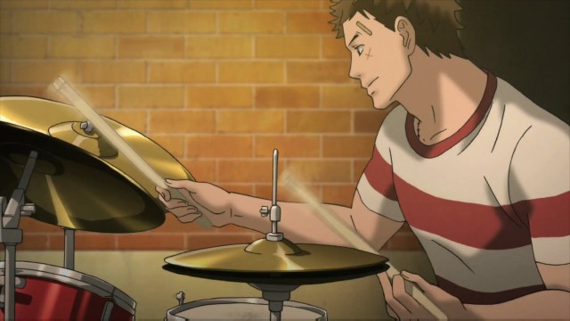 Sentarou Kawabuchi playing the drums from the anime series Kids on the Slope