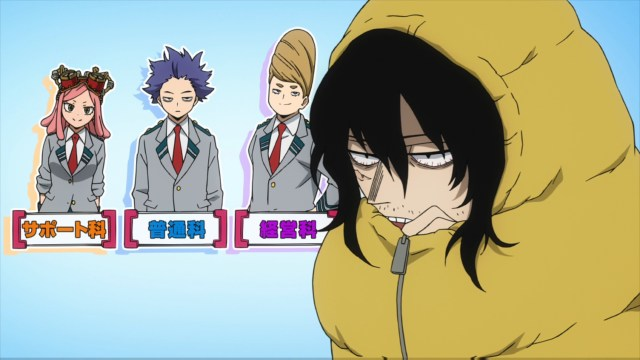 Mr. Aizawa reminding us non-hero students exist from the anime series My Hero Academia season 4
