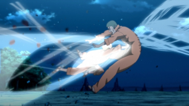 Boruto defeating Tsukiyo with the Gentle Fist technique from the anime series Boruto: Naruto Next Generations