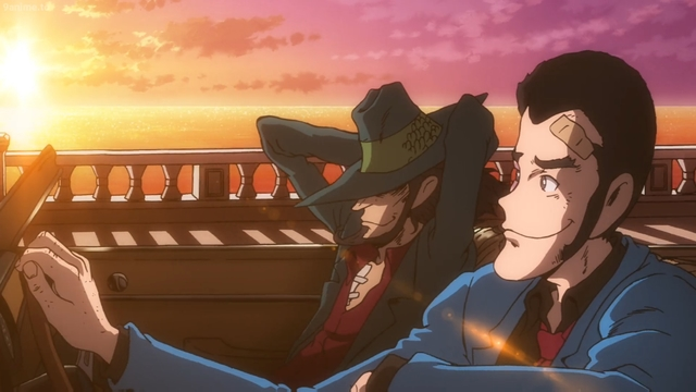 Arsene Lupin III and Daisuke Jigen from the anime movie Lupin the IIIrd: Jigen's Gravestone