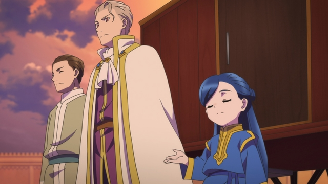 Myne and Benno dressed up to meet the Head Priest from the anime series Ascendance of a Bookworm season 2