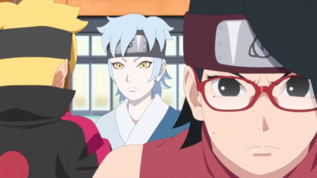 Boruto, Mitsuki, and Sarada from the anime series Boruto: Naruto Next Generations