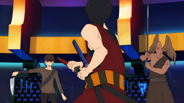 Hatz fighting two opponents from the anime series Tower of God