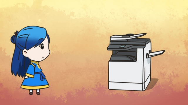 Chibi Myne wishing she had a photo copier from the anime series Ascendance of a Bookworm season 2
